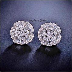 Luxury Earrings White Gold Plated Cubic Zirconia Paved Bridal Wedding Stud Earrings For Women Fashion Crystal Earrings, Crystal Jewelry, Women's Earrings, Silver Jewelry, Fine Jewelry, Unique Jewelry, Inexpensive Jewelry, Flower Earrings, Silver Bracelets