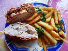Baconos csirkemell recept őzgerinc formában: Imádom, mert annyira egyszerű elkészíteni! Egy gyors összeállítás, formába pakolni, sütőbe tenni és már kész is! :) Meatloaf, Steak, Bacon, Pork, Chicken, Pork Roulade, Meat Loaf, Pigs, Steaks
