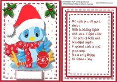 Christmas Topper Incert and verse The Little Blue BIrd  on Craftsuprint - Add To Basket!