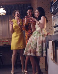 Hello ladies. Three signature 60's styles dresses all completely different. [yellow hem notch with bow? omg]