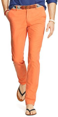 $29, Orange Chinos: Polo Ralph Lauren Slim Fit Pima Cotton Chino. Sold by Ralph Lauren. Click for more info: https://lookastic.com/men/shop_items/234074/redirect