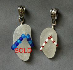 Sea Glass Flip Flop Charms or Small Pendants by oceansbounty