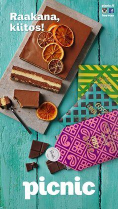 Raakana suklaa kiitos! Appelsiini-suklaa –raakakakku  Goodion raakasuklaa. 4,90 €. Picnic E-taso ja 2.krs.