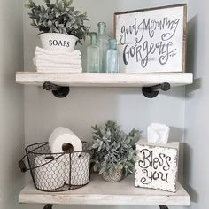 Happy Saturday friends! I haven't shared these easy DIY bathroom shelves in a while. I used plumbing pipes and 2x10 boards. Perfect really for any farmhouse space (If interested in DIY details...I shared some on my stories earlier today!) Have a great evening everyone! . Tap for sources! . . . . . . . . . . . #simplelivingsaturday #blissfullyhome #mysaturdayvignette #simplywhitesaturday #thepolishedfarmhouse #iloveoldstuffsaturday #styledsaturdaysigns #modernfarmhouse #sweetsaturdaysimpl...