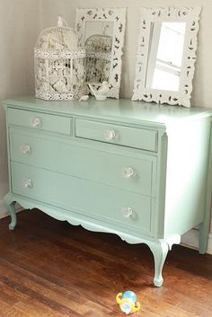 Dresser Benjamin Moore's Azores, wow, that's a good color.