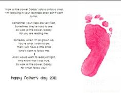 This ADORABLE project is simple, and perfect for Father's Day!  Simply print it out, have each child do one painted footprint, and mount the poem o...