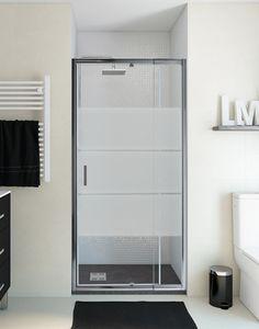 Frente de mampara de ducha, modelo Óptima, pivotante, vidrio serigrafiado.