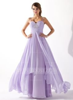 A-Line/Princess Sweetheart Floor-Length Ruffle Beading Zipper Up Spaghetti Straps Sleeveless No Lilac Spring Fall General Plus Chiffon Prom Dress