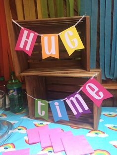 Trolls birthday party HUG TIME Rainbow Banner for Birthday Party Cake Table /