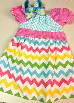 Easter pastel chevron spring peasant dress with tie. $35.00, via Etsy.