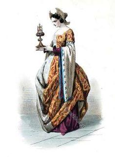 Court dress. Cour de Charles VII, 1460. 15th century fashion.