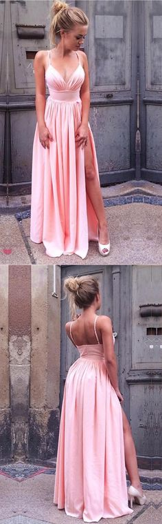 2018 prom dress, pink long prom dress, straps pink long prom dress, long prom dress with slit