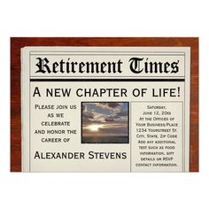 """Retirement Party Fun Newspaper Invitation 5"""" X 7"""" Invitation Card"""