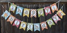Happy Birthday Banner #thehappyscraps  Birthday Bash Cricut cartridge and Mini Monograms for the circles