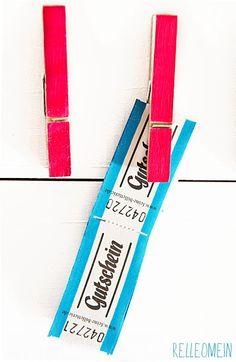 Wertmarken Gutschein neonpinke Wäscheklammer Rum, Personal Care, Gifts, Decoration, Tape, Gift Cards, Branding, Life, Recipies