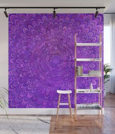 Purple Mandal Bird Feathers Wall Mural by David Zydd Living Room Designs, Living Room Decor, Bedroom Decor, Wall Decor, Wall Murals, Wall Art, Flower Mandala, Bird Feathers, Wall Tapestry