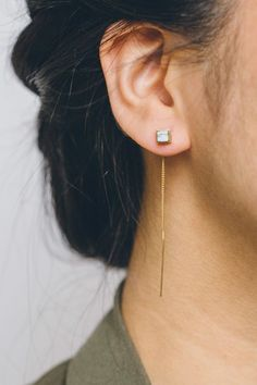 Cube Stone Threader Earrings, Lovoda -Marble $20.00