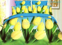 Pościele koloru niebieskiego w zółto zielone tulipany