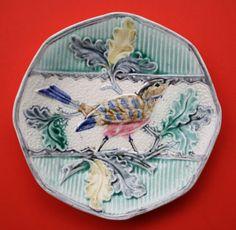 Antique Belgium Majolica Plate Bird Foliage Signed Thurner Wasmuel 1890 1900   eBay