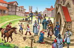 grote praatplaat ridders en kastelen Writing Pictures, School Pictures, Castle Classroom, Dragons, Château Fort, Medieval Life, Fantasy Pictures, Middle Ages, Social Studies