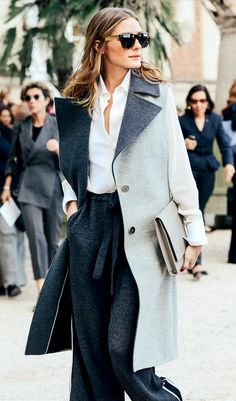 Olivia Palermo. Monochromatic grey.