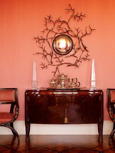 papaya-coral-orange-room-interior The colors and the wall decor! Decor, Coral Interior, Interior, Orange Rooms, Home Decor, Retro Interior, Cool Walls, Best Wall Colors, Wall Color