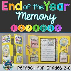 End of Year Memory Lapbook   Looking for fun, end of the year activities? This lap book will be perfect for the last week of school before summer! It gives students a hands-on way to reflect on the school year and creates the perfect keepsake.Lapbook includes:   Differentiated covers for grades 2-6 and a general cover that will work for ANY grade level