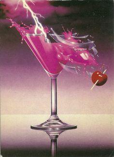 Shattered glass & neon...'80s design clichés.