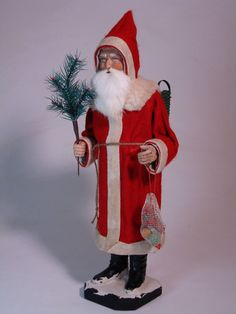 Paper mache German Santa(red) candy container handmade by Paul Turner