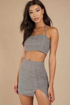 ce6e3b5bd1e Can t forget about plaid. The Hard To Forget Plaid Grey Crop Top will
