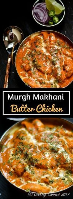 - Murgh Makhani Creamy, tangy and rich tomato sauce gravy coats the marinated and fried chicken pieces to become this indulgence of Butter Chicken or Murgh Makhani, that is a favorite among any who loves a good Chicken curry. Asia Food, Curry Dishes, Indian Dishes, Mets, International Recipes, Asian Recipes, East Indian Food Recipes, Authentic Indian Recipes, Carne