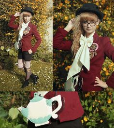 Zara Red Jacket, Vintage Antique White Blouse, Taobao Blck Top Hat, Angelic Pretty Chocolate Brooches, Avant Première Brown Shorts, Merry Go Round Chocolate Tights, Bata Black Ankle Boots, Felissimo Tea Pot Bag