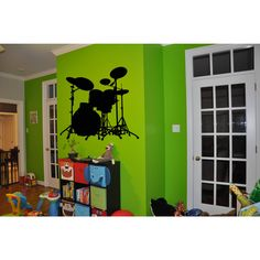 Drums Rock'N'Roll =Sticker Vinyl Wall Art