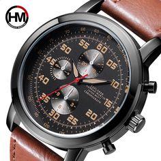 f5a1e85e96c Esportes Execução Homens Relógio De Couro Top Marca de Luxo Japão Quartz  Tachymeter Militar Do Exército Masculino Relógio de Pulso Relógio Relogio  masculino