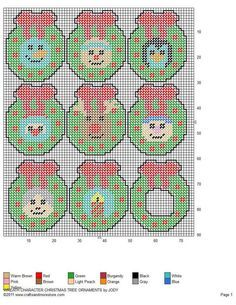 WREATH CHARACTER CHRISTMAS TREE ORNAMENTS by JODY Plastic Canvas Books, Plastic Canvas Stitches, Plastic Canvas Coasters, Plastic Canvas Ornaments, Plastic Canvas Crafts, Plastic Canvas Patterns, Christmas Perler Beads, Sewing Crafts, Sewing Projects