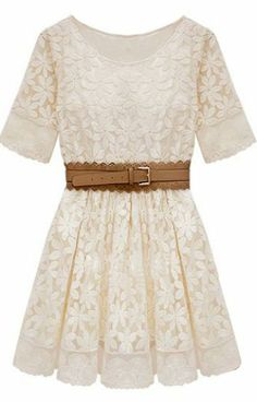 Beige Short Sleeve Embroidery Crochet Lace Hem Belt Dress. Cute with cowboy boots.