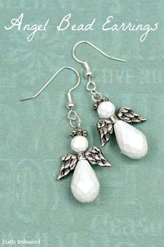 DIY Earrings and Homemade Jewelry Projects - Angel Bead Earrings - Easy Studs Ideas with Beads Dangle Earring Tutorials Wire Feather Simple Boho Handmade Earring Cuff Hoops and Cute Ideas for Teens and Adults   #diystudearringswire