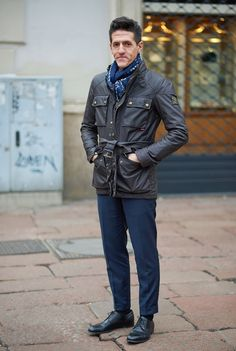 Great styling of the Belstaff Roadmaster in Milan