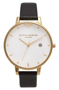 Olivia Burton Queen Bee Leather Strap Watch, 38mm available at #Nordstrom