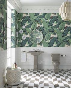 New White Brick Wallpaper Bathroom Subway Tiles 37 Ideas Palm Wallpaper, Tropical Wallpaper, Brick Wallpaper, Forest Wallpaper, Tropical Bathroom, Tropical Home Decor, Tropical Furniture, Tropical Interior, Bathroom Interior Design