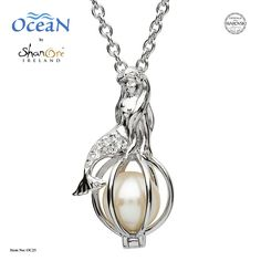 The mysteries of the ocean are captured with brilliance in this sterling silver mermaid pendant featuring sparkling white Swarovski® crystals and a solitary Swarovski created pearl. Ocean Jewelry, Dolphin Jewelry, Mermaid Jewelry, Pearl Jewelry, Antique Jewelry, Jewlery, Sterling Silver Flowers, Sterling Silver Rings, Mermaid Pendant