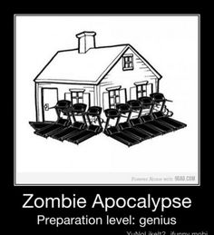 Zombie Prepare level: Genius | Use treadmills to guard your home against walkers | www.extremely-sharp.com/eslife/zombie-apocalypse-survival-kit/ | Zombie Apocalypse