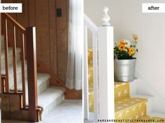 Before and After cottage stairway from Rare and Beautiful Treasures. Paint the brown paneled walls white and add a finial to the newel post. Rip up the carpet and paint a yellow runner on the steps!