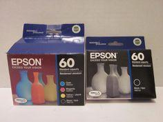 5 Epson 60 Ink Cartridges EXPIRED 2014 Factory Sealed Black Cyan Yellow Magenta…