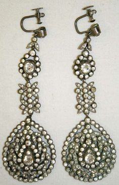 French silver earrings from the late 18th century