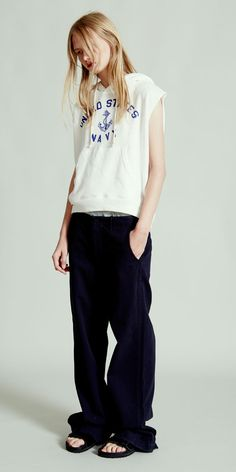 NLST l Sleeveless Navy Popover and Wide-Leg Chino #NLST #SS15 #womenswear nlst-usa.com