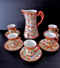 Antiques Japanese Tea Sets 11 Pcs Teapot Cups Saucers | eBay