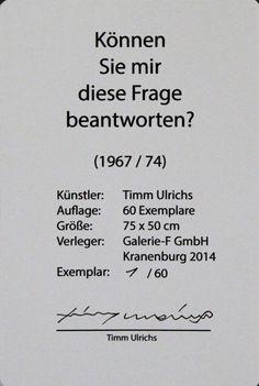 Timm Ulrichs - Können Sie mir diese Frage beantworten? (2014)