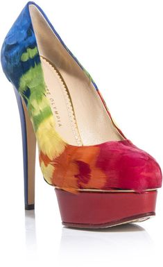 Charlotte Olympia Dolly Feathers Shoes In Multicolor Blue Lyst Find This Pin And More On Mardi Gras
