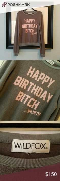"{Wildfox} ""Happy Birthday B*tch"" beach jumper. Unreleased exclusive piece.  Impulse buy in the middle of the night that I've never worn.  In doing my research, a linited amount of these were made for actress Bella Thorne's 18th birthday on October 11th, 2015.  Nearly new condition. The celeb wearer cut out the size tag, but there are no other flaws.   Tagged XS, this fits more true to size-best for up through petite small.  Measured length: 24.75""  Bust: 37"" flat before stretch.   PRICE…"